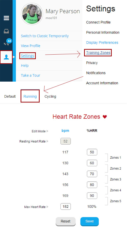 Setting up heart rate zones in Garmin