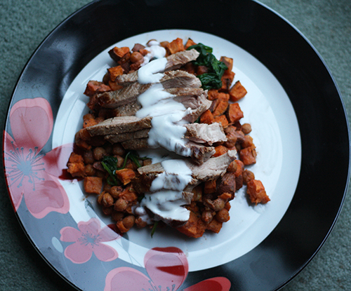 Duck Steaks with spiced chickpeas, sweet potatoes & lemony yoghurt (Hello Fresh)