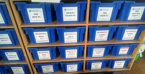 Sorting out the boxes for the new term at school