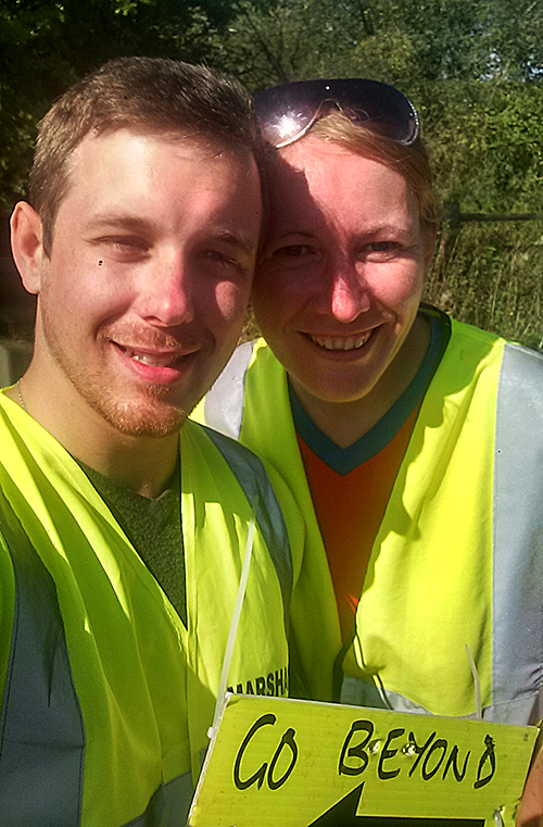 Dan and me Marshaling at Northampton half marathon
