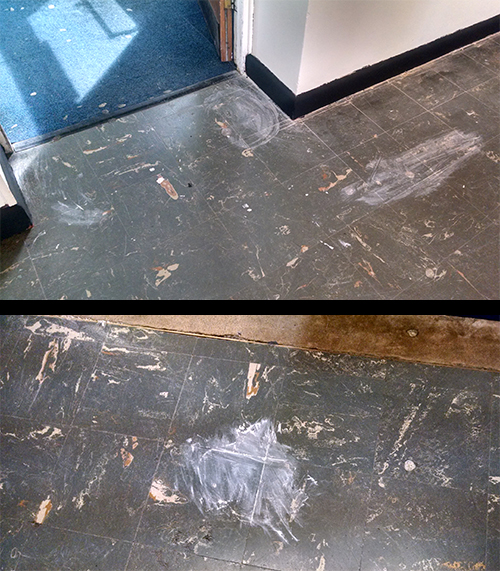 Rubbish painting job with paint all over the floor
