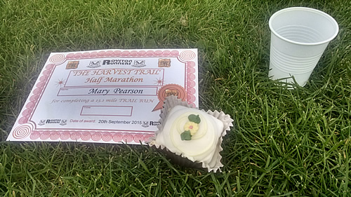 Royston harvest trail half marathon certificate and cake at the finish