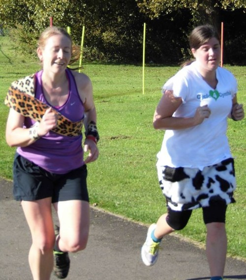 Corby parkrun wearing fancy dress for the second birthday run
