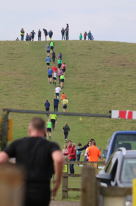 Headed up the hill at mile 6 of the Tring 15k Ridgeway Run