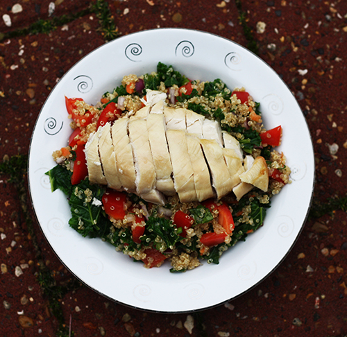 Hello Fresh Oven baked chicken with an orange and sesame quinoa salad