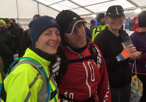 Gower marathon HQ tent with Mark and Jo
