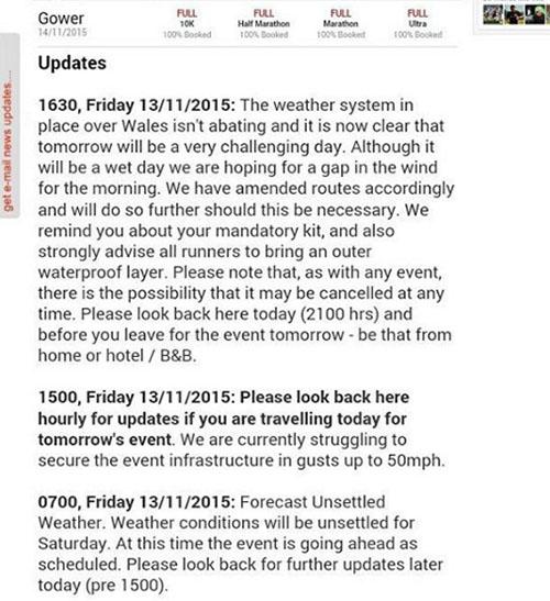 Gower marathon notice