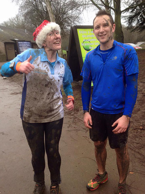 The result of running with Tom at the Christmas Eve muddy run!
