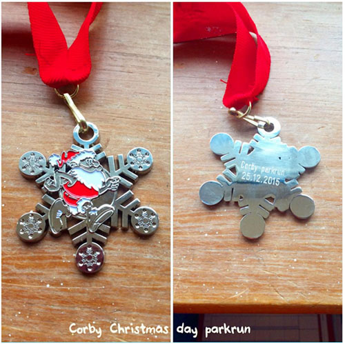 Corby parkrun Christmas day medal