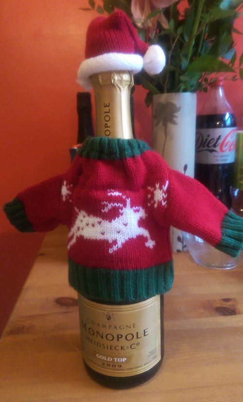 Christmas champagne Santa outfit bottle warmer