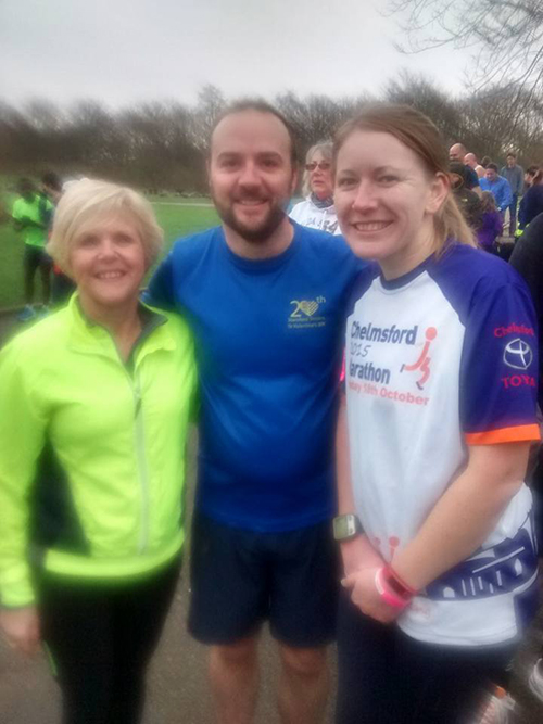 Me, Gillian and Matt inbetween runs at the parkrun double