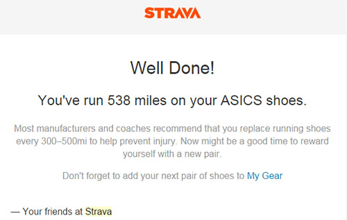 500 miles in your trainers warning from Strava