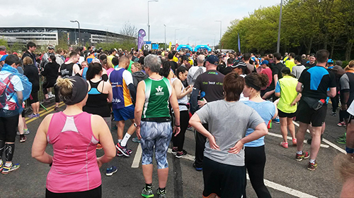 Waiting to start Milton Keynes half marathon