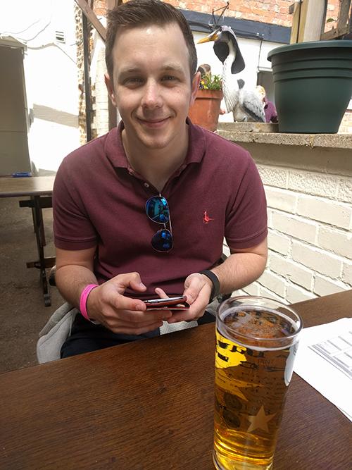 Dan at The Lamb pub on the Waendel Walk
