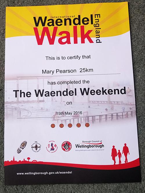 Waendel Walk certificate