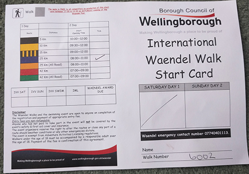 Waendel Walk stamp card