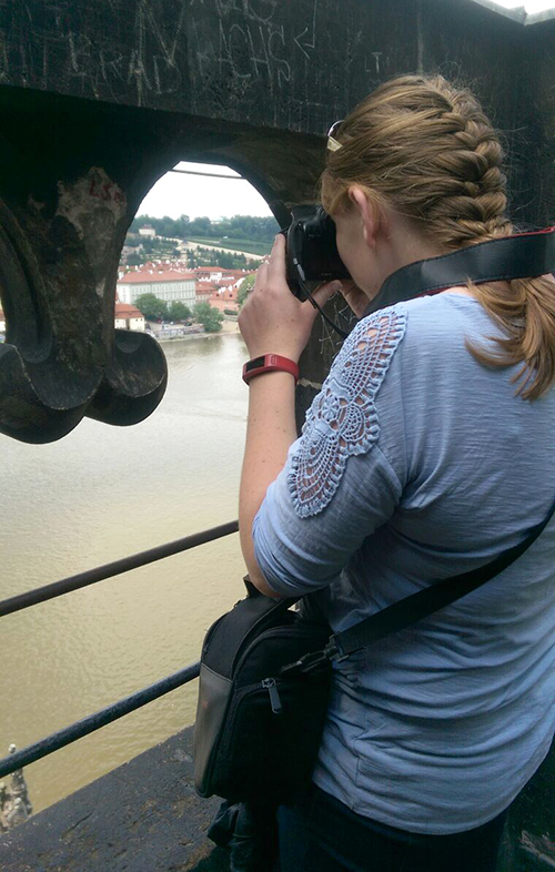 Photographing from the top of the bridge in Prague