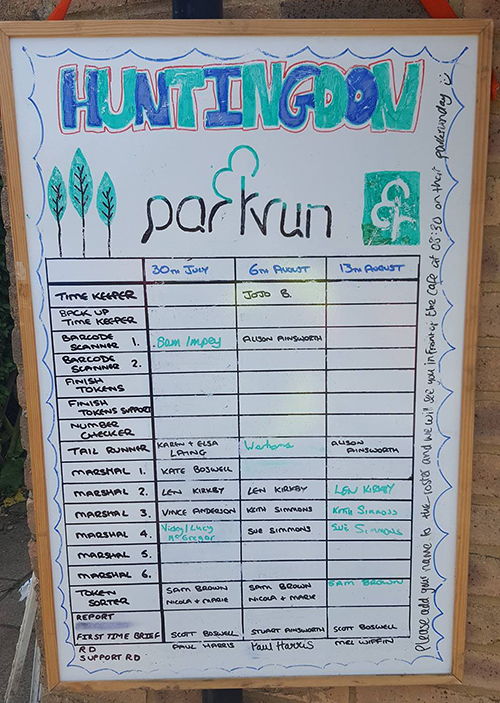 Huntingdon parkrun volunteer board