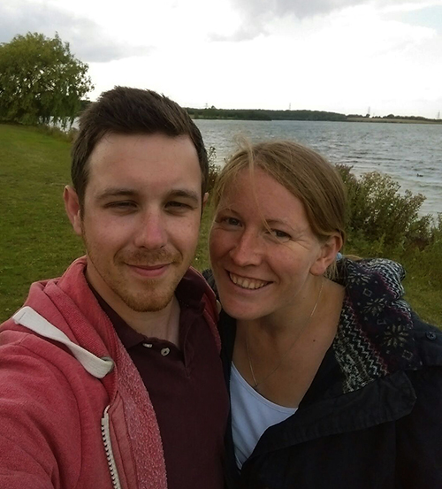 Dan and I walking round Grafham Water