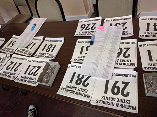 Race numbers at the Wellingborough 5