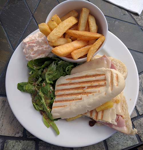 Ham, mozzarella and pineapple panini from Beckworth Emporium