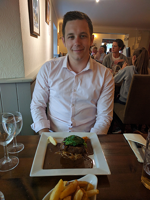 Dan with beef dish at Fox Inn Thorpe Waterville