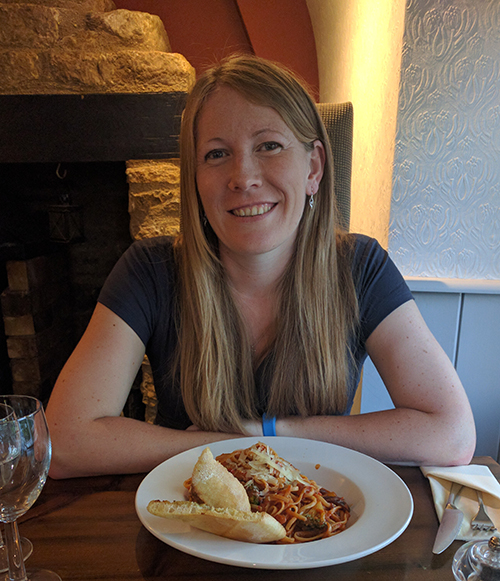 Me with vegetable linguine dish at Fox Inn Thorpe Waterville