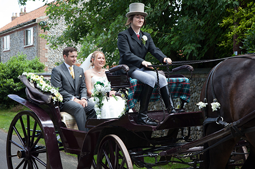 Our wedding - Dan and Me in the horse and carriage