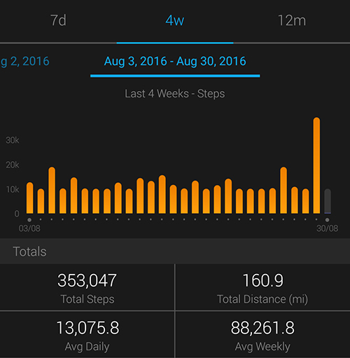 10,000 steps a day for 46 days - Garmin Connect