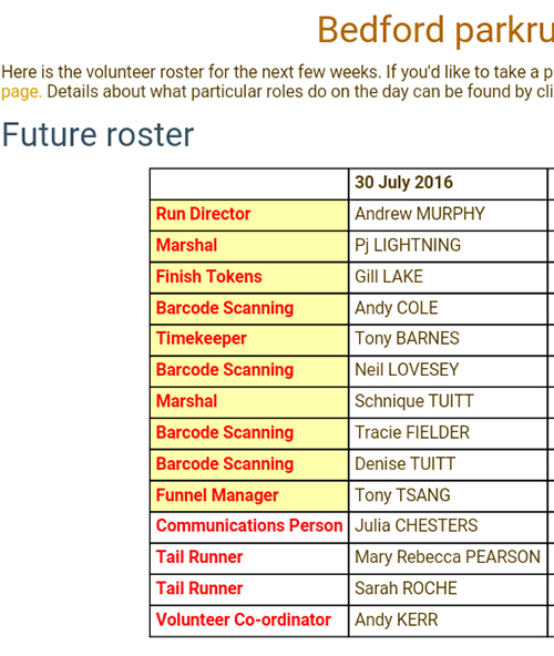 Bedford parkrun volunteer rota