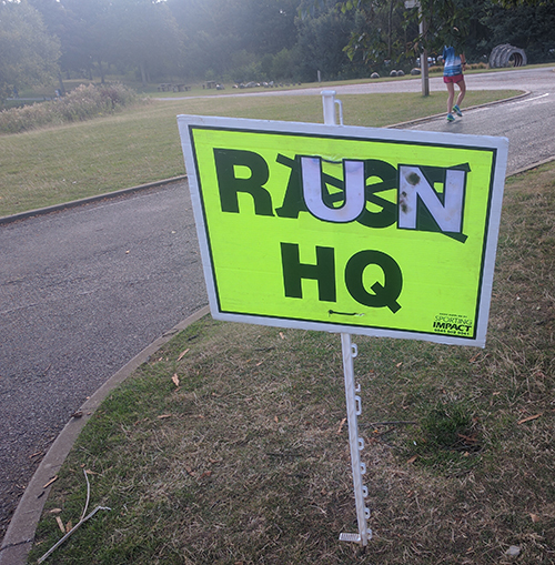 Peterborough parkrun - RUN HQ sign