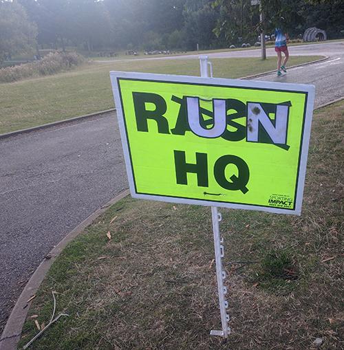 Peterborough parkrun - RUN HQ sign