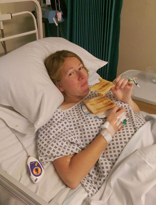Eating toast following a cesarean