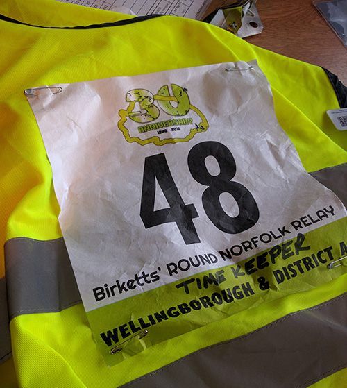 Timekeeper marshal vest for the Round Norfolk Relay