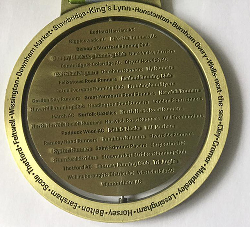 Round Norfolk Relay - back of the medal