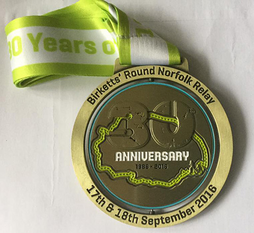 Round Norfolk Relay - front of the medal