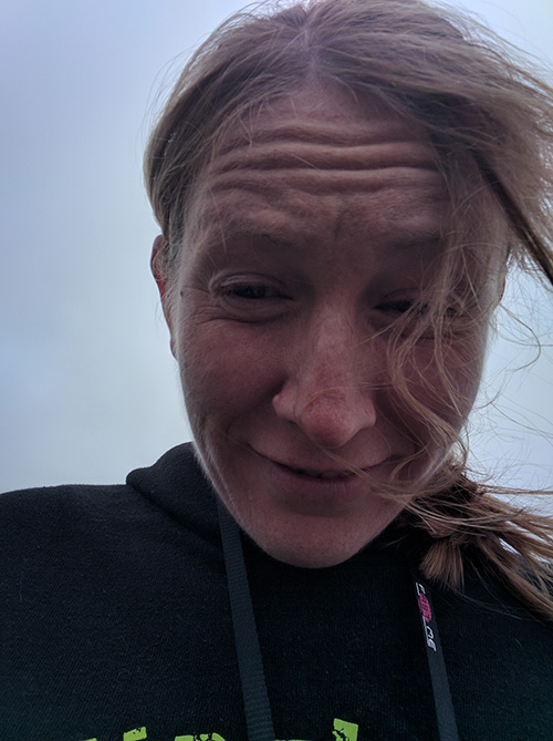 Me with windy hair at the Round Norfolk Relay
