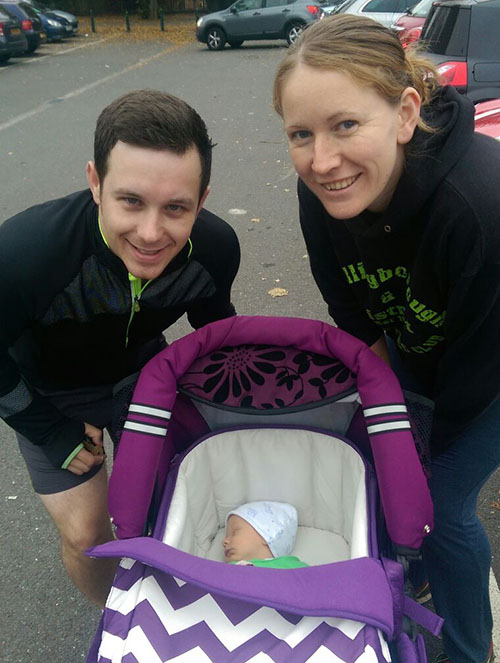 Dan, Me and Oscar at his first parkrun at 4 weeks old