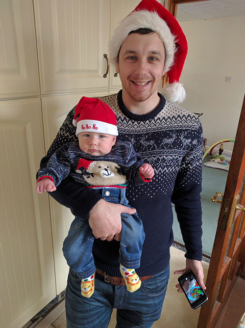 Dan and Oscar at Christmas