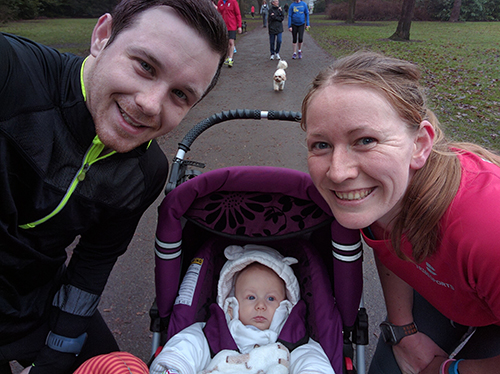 Dan, Me and Oscar at Bedford parkrun on New Year's Eve