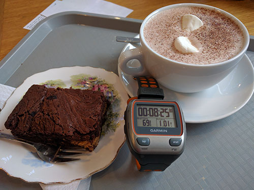 Magic Mile time with hot chocolate and brownie