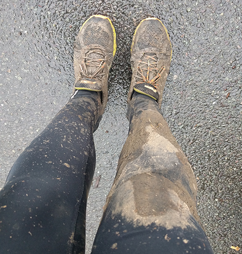 Muddy trail run legs