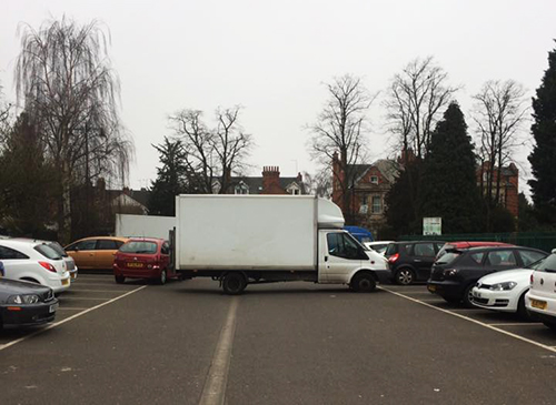 Van blocking the car parking spaces at Northampton parkrun