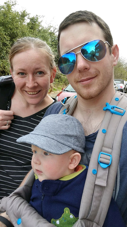 Dan, Oscar and I out for a walk on Mother's Day