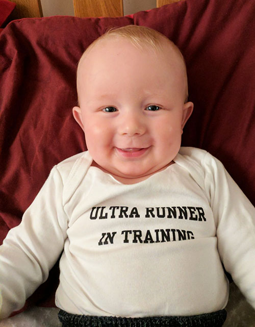 Oscar in his Ultra runner in training vest