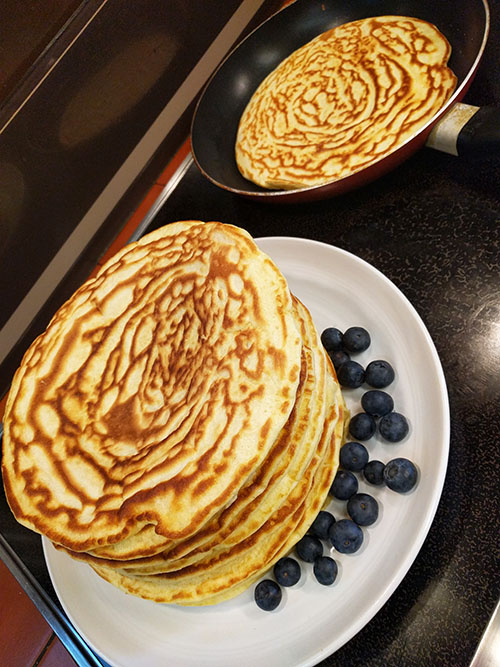 American pancakes with blueberries
