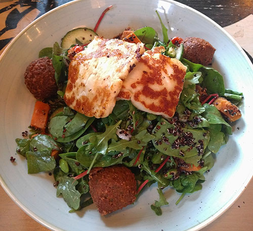 Halloumi and falafel salad from Castello Lounge, Wellingborough