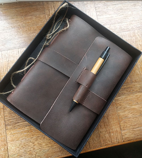 Leather bound notebook for our third anniversary