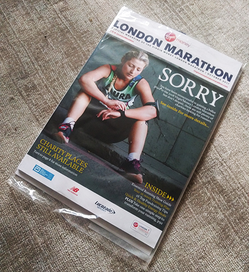 London Marathon rejection magazine 2018