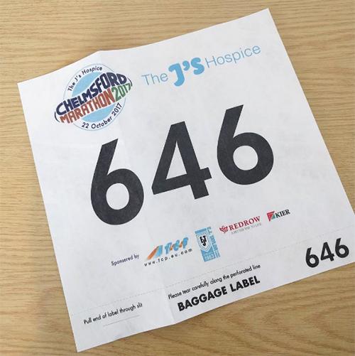 Chelmsford Marathon number